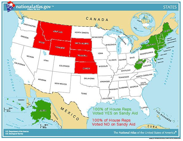 Sandy Aid vote map