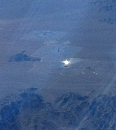 A solar farm seen from an airplane